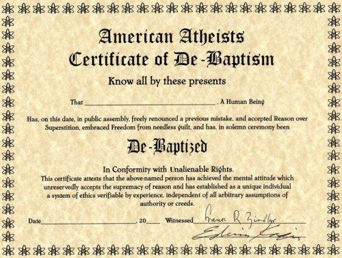 certificato di de-battesimo